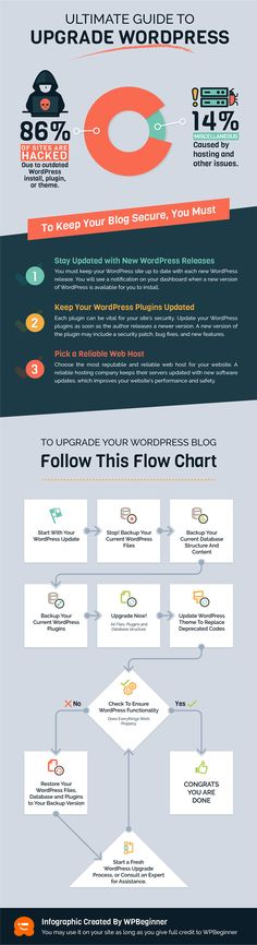 Ultimate guide to update WordPress for beginners. This infographic shows a step by step guide on how to safely and properly update WordPress. Learn Wordpress, Wordpress Plugins, Wordpress Website Design, Step Guide, Helpful Hints, Infographic, Web Design, Tutorials, Photos