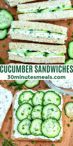 Cucumber Sandwiches, Healthy Sandwiches, Tea Sandwiches, Sandwich Recipes, Lunch Recipes, Appetizer Recipes, Vegetarian Recipes, Cooking Recipes, Healthy Recipes