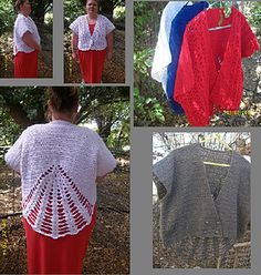 Ravelry: Fan Vest with Lace or Solid Front pattern by Copper Llama Studio Crochet Jacket Pattern, Crochet Stitches Patterns, Crochet Shawl, Stitch Patterns, Knitting Patterns, Crochet Tops, Different Stitches, Shrug Cardigan, Pattern Library