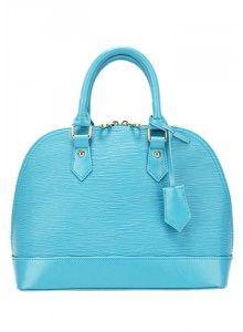 Salma Top Handle Leather Bag Blue