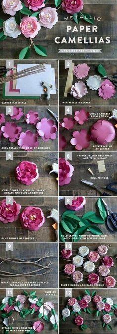 Como hacer flores de papel. DIY paper camellias