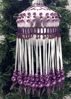 Extra Long Satin White Vintage Bugle Bead and Purple Glass Pearl Hand Beaded Christmas Ornament Cover