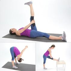 Limber and Lean: Easy Hamstring Stretches - If you run bike or are deskbound all day your hamstrings could use some extra love and length. It not only feels good to stretch this commonly tight area but hamstring flexibility is also important for the h Hamstring Muscles, Hamstring Stretches, Easy Stretches, Leg Exercises, Fitness Tips, Fitness Motivation, Health Fitness, Fitness Quotes, Fitness Models