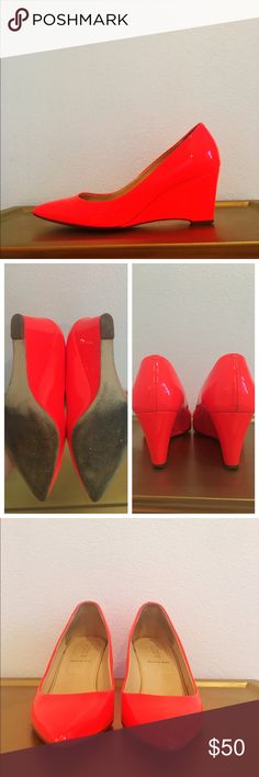 J CREW WEDGE DRESS SHOES These badass neon shoes will give you some pep in your step.  Perfect to dress up or down.  Awesome statement piece.  In great condition.  A couple very minor scuffs.  If subtlety is your thing these are not for you.  These shoes were made for walking!  👠👠👠 J. Crew Shoes