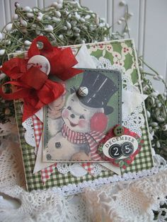 vintage CHRISTMAS SNOWMAN greetings HI december 25 stitched handmade card