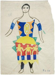 amare-habeo:  Fernand Léger (French 1881-1955)  Costume for Swedish ballett: Costume project for Skating Rink 1926   Watercolor and gouache on paper 26 x 19.3 cm