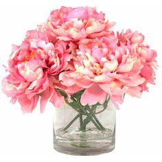 Found it at Wayfair - Echyngham Pink Peony in Acrylic Water Glass Vase