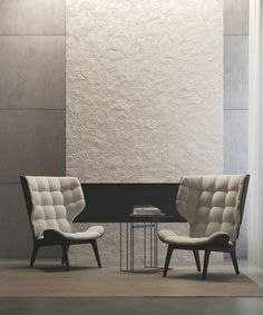 Modern interior render featuring decorative surfaces on walls. Images made for Hangar Design . Modern Interior, Dining Bench, Love Seat, Surface, Couch, Studio, Furniture, Design, Home Decor