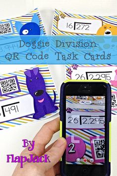 Doggie Division QR Code Task Cards! This title contains 24 self-checking center/task QR code cards and one recording sheet for students to practice solving long division problems with two-digit divisors and with or without remainders. $