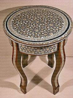 Egyptian-Moroccan-Vintage-Mother-of-Pearl-Mosaic-Wood-Round-Coffee-Table