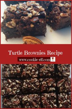 Turtle Brownies Recipe: Easy Brownie Recipe - - Turtle Brownies Recipe: ingredients, directions, and special baking tips from The Elf to make this easy brownie recipe. Keto Brownies, Pecan Brownies Recipe, Turtle Brownies, Dairy Free Brownies, Chewy Brownies, Brownie Cookies, Brownie Desserts, Cake Mix Cookies, Brownie Cake