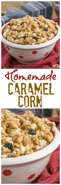 Caramel Corn with Cashews and Cherries | Perfect snack for game day or movie night @lizzydo