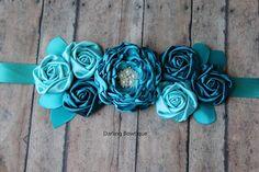 Shades of Aqua and Teal Rosette Maternity Sash Bridal Sash Flower Girl Sash on Etsy, $32.49