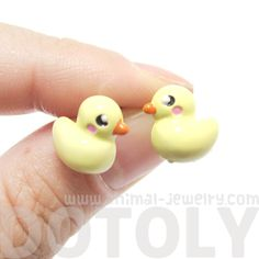 - Details - Sizing A pair of adorable animal themed earrings made in the shape of yellow rubber duckies! They are super cute and anime inspired! Store FAQ | Shipping Info | Returns & Exchanges Size: E
