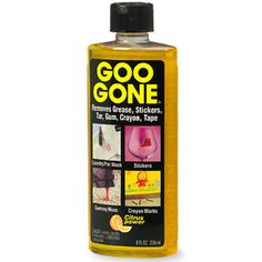Goo Gone Adhesive Remover - 8 Ounce - Surface Safe Adhesive Remover Safely Removes Stickers Labels Decals Residue Tape Chewing Gum Grease Tar Ink Removal, Sticker Removal, Diy Cleaning Products, Cleaning Hacks, Cleaning Solutions, Grease Remover, Goo Gone, How To Remove Adhesive, Rubbing Alcohol