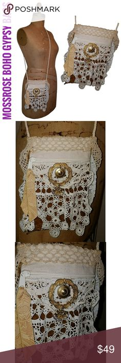 """Boho Gypsy Bag Crossbody Bag Lace Velvet Bling Magnolia Pearl / Anthropologie / Free People / Lagenlook / Stevie Nicks / Spell and the Gypsy inspired  Draped in vintage crochet doilies, lace & velvet Glamorously adorned with a vintage brushed gold brooch that I added rhinestones to The bag itself measures 9"""" x 6 1/8"""" It opens about 3"""" tapering down The corded strap has a drop of about 22"""" A piece of velvet is wrapped & stitched on the strap for stability & comfort Just big enough for your…"""