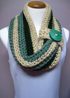 Chunky Bulky Button Crochet Cowl Sage Green by crochetcluster,