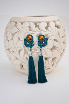 Green Turquoise Brown Beaded Tassel Earrings от AMdesignSoutache