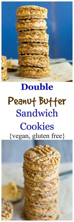These Double Peanut Butter Sandwich Cookies are soft, chewy and delicious! {gluten free, vegan}