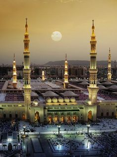 Masjid an-Nabawi (central mosque), Madina, Saudi Arabia Magic Places, Places To Go, Places Around The World, Around The Worlds, Beautiful World, Beautiful Places, Beautiful Sunset, Beautiful Pictures, Architecture Religieuse
