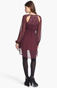 Fire Lace Back Pattern Chiffon Dress (Juniors) available at #Nordstrom