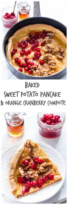 Baked Sweet Potato Pancake With An Orange Cranberry Compote   Recipes From A Pantry