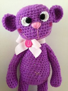 Crochet Teddy, Crochet Patterns Amigurumi, Crochet Toys, Free Pattern, Hello Kitty, Dinosaur Stuffed Animal, Hats, Animals, Inspiration