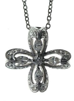 Diamond Cross with Pave and Marquise 0.88 Carat 18 Karat White Gold Cr800219 #Unbranded #Pendant