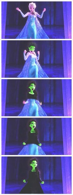Elsa into Elphaba. I really just love this. This is for Grace.