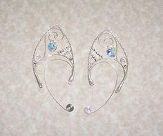Elf Ear Cuffs - Cystal Heart - Bonus Gift Box - Elven Jewelry. $35.00, via Etsy.