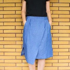 Week 18 - A Garment A Week - stitchremedy.com #stitchremedy #denimskirt #wrapskirt #sewing #handmade #mmmay16 Denim Skirt, Midi Skirt, Sewing Clothes, High Waisted Skirt, Sewing Patterns, Remedies, Stitch, Instagram Posts, Clothing