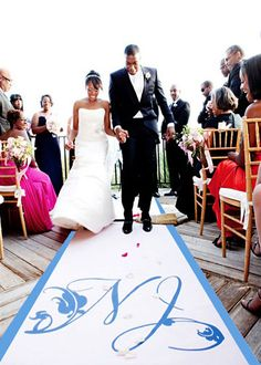 love the idea of a personalized aisle runner