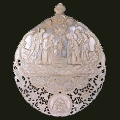 Ashmolean Advent Calendar - Day 25 - Christmas Day - The Nativity - Carved shell pilgrimage souvenir - century Palestine - On display in Gallery 28 - © Ashmolean Museum Mother Of Pearl Buttons, Mother Pearl, Palestine Art, O Holy Night, Seashell Art, Coral Stone, Ancient Jewelry, Pilgrimage, Stone Art