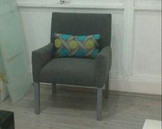Butaca clasica en lino gris! Morarte decoraccion en coyoacan!  Plaza frida primer piso.  Cuahtémoc esq allende.