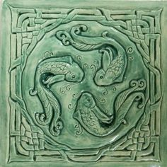 """8"""" ceramic earthenware wall tile in turquoise. Depicts Celtic Salmon of Knowledge."""