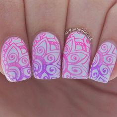 Pink and purple and stamped all over nails by @aanchysnails