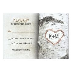 Shop Birch Tree Rustic Wedding RSVP Cards created by jinaiji. Personalize it with photos & text or purchase as is! Wood Wedding Invitations, Rehearsal Dinner Invitations, Personalized Invitations, Wedding Rsvp, Custom Invitations, Wedding Ideas, Invites, Invitations Online, Dream Wedding