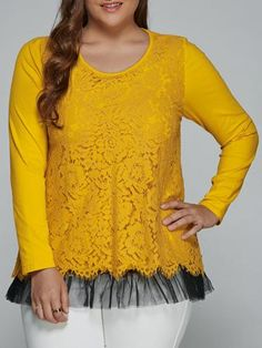 Plus Size Lace Spliced Top Long Sleeve Blouse