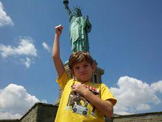 my bro near the Statue of Liberty