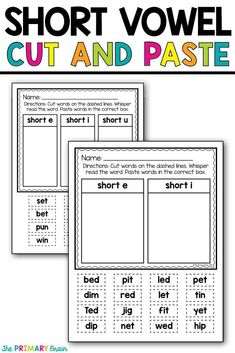 CVC Word Cut and Paste Activity to work on short vowel sounds in phonics. Great for literacy centers, workshop, and extra practice during reading. Help with fine motor skills through cutting and pasting word cards.