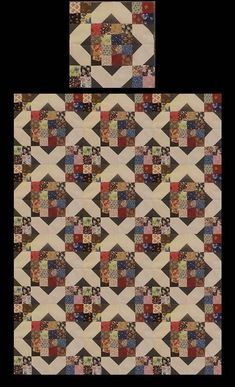Arkansas Crossroads *****These quilt blocks are scrappy .. Each set will vary in colors and fabric designs  Sold in sets.... 12 blocks per set Each block is 16.5 inches  These blocks are custom made to order....and will take 4-6 weeks to complete