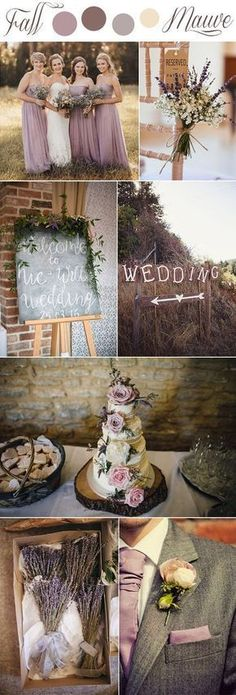fall mauve and lavender romantic rustic wedding colors