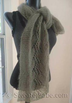 Knitting Pattern for Gossamer One-Ball Lace Scarf pattern from SweaterBabe.com in Elann.com Silken Kydd yarn.