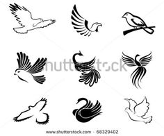 Set of bird symbols as a concept of peace - also as emblem. Jpeg version also available - stock vector
