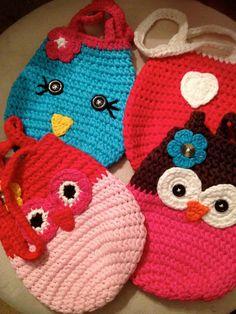 Blue bird crochet handmade purse