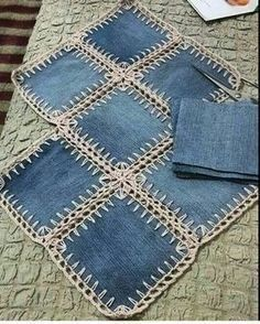A denim-look combination of woven fabric and crochet (fusion crochet) . Fabric Crochet Quilt Source by enayylmazer grannie square and denim quilt - Yahoo Image Search Results This Pin was discovered by med High Tea crochet quilt: http:/ Crochet Quilt, Crochet Squares, Crochet Granny, Crochet Stitches, Granny Squares, Crochet Edgings, Crochet Geek, Crochet Fabric, Crochet Pillow