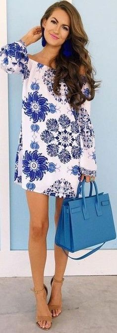 #summer #preppy #outfits |  White Floral Little Dress + Nude Sandals