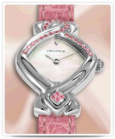 Symbolic steel watch for lady set with 24 pink sapphires  Pink Ribbon
