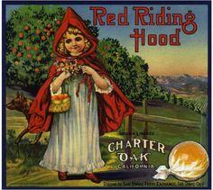 Charter Oak Red Riding Hood Orange Crate Label Print