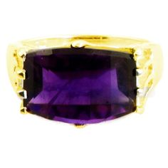 Amethyst 6.50 Carat Ring in Yellow Gold Plated 925 Sterling Silver
